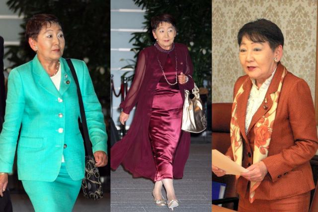 議員時代の千葉景子さん。左と中央は2009年9月16日、右は同年10月23日に撮影