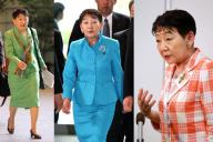 議員時代の千葉景子さん。左は2009年10月9日、中央は2010年6月8日、右は2010年8月27日撮影