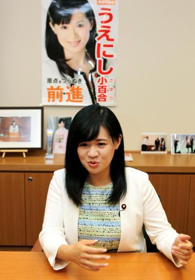 無所属になりポスターから政党名はなくなりました=竹谷俊之撮影