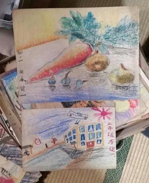 坂本さんが小学生のころに描いた絵。遺品の中から何枚も見つかった