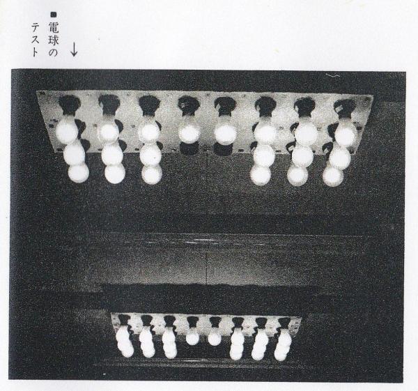 電球がどれくらい使い続けると切れるか、テストしている風景