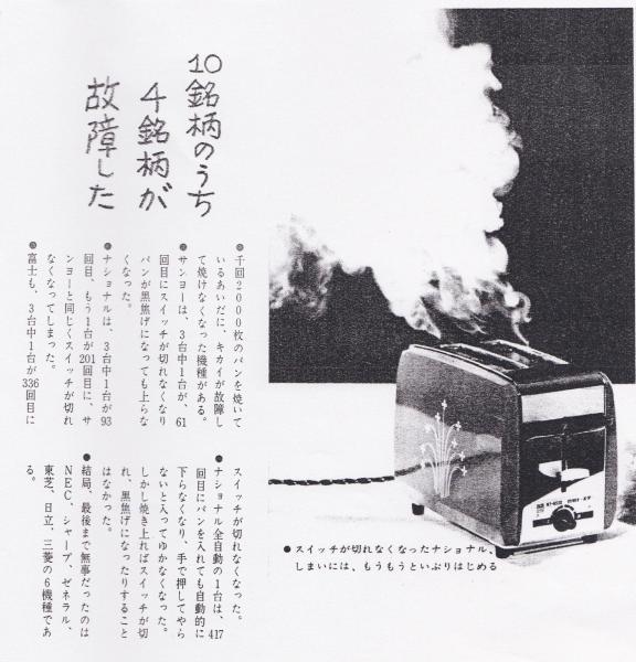 過酷なテストで、壊れたトースターが煙を上げる