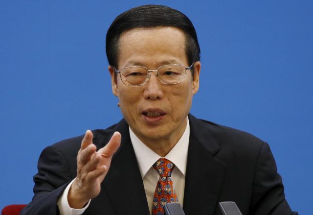 中国最高指導者の一人である張高麗氏=2015年12月、北京