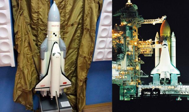 バイコヌール市歴史博物館にあるソ連版スペースシャトル「ブラン」の模型(左)、1992年、アメリカ・フロリダ州のケネディ宇宙センターで撮影されたスペースシャトル・エンデバー