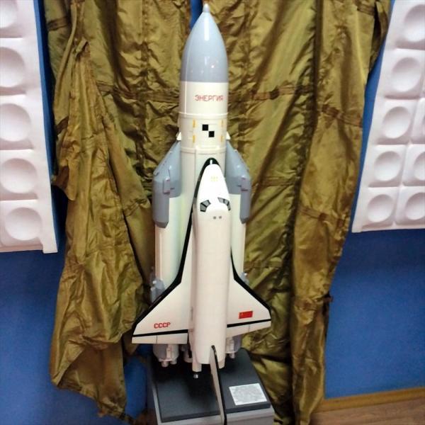 ソ連版スペースシャトル「ブラン」の模型=バイコヌール市歴史博物館