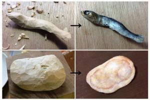 ポテチ、煮干し、クロワッサン…本物そっくり木彫り作品、作者に聞く