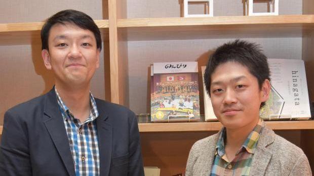 おふろcafe utatane統括支配人の宮本昌樹さん(右)と、温泉道場メディア事業部長の野村謙次さん