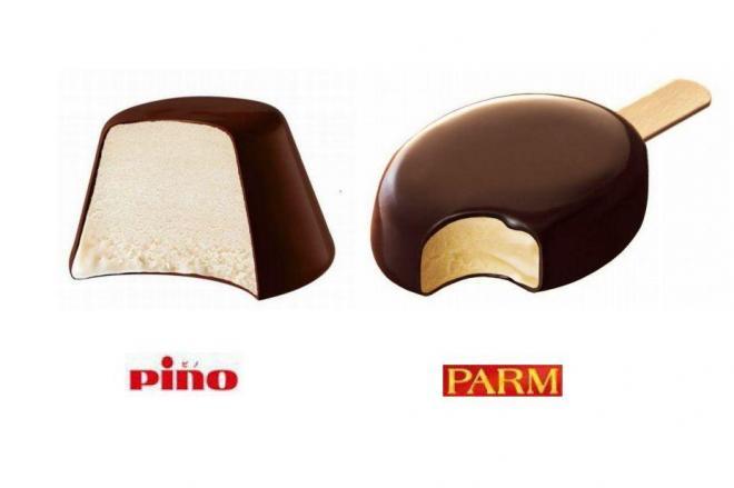 同じ森永乳業から販売されているピノ(左)とパルム
