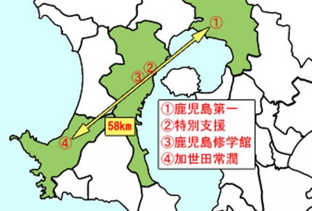鹿児島修学館・特別支援・加世田常潤・鹿児島第一の各校の位置