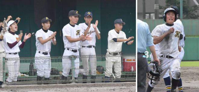 (左)ベンチで声援を送る、鹿児島特別支援など連合チームの選手ら (右)本塁に生還した鹿児島特別支援の坂下