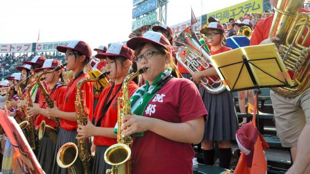 2013年8月の第95回大会で応援する常総の吹奏楽部員たち=阪神甲子園球場