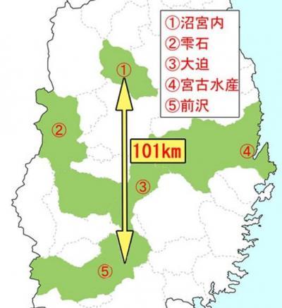 5校連合(前沢・宮古水産・大迫・沼宮内・雫石)の各校の位置