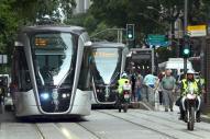 リオの街を走る路面電車=寺島隆介撮影
