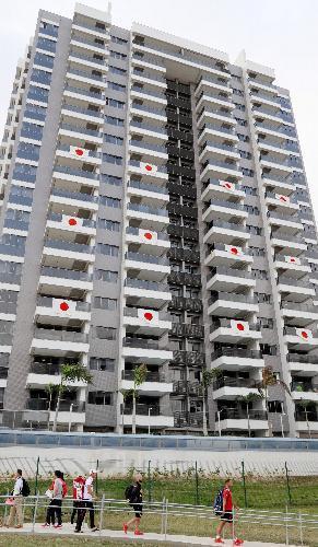 選手村の日本が入居する棟=2016年8月2日、ブラジル・リオデジャネイロ、西畑志朗撮影