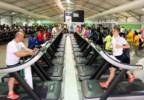 選手村内にある巨大なトレーニング施設=2016年8月2日、ブラジル・リオデジャネイロ、西畑志朗撮影