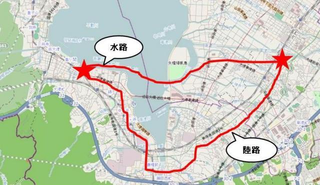 船で琵琶湖を渡る水路と、徒歩で遠回りをする陸路。「急がば回れ」は、このうち陸路を選ぶという意味。