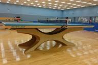 リオ五輪で使われた国産卓球台=天童木工提供