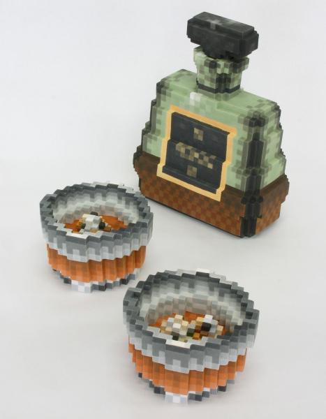 身の回りの世界をドットで立体化! デジタル陶芸家の胸熱作品=Low pixel CG 「大人の時間」 2011 陶土