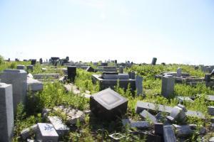 20km圏内では、津波にさらわれた墓石が片付けられないまま残っていた=水野梓撮影