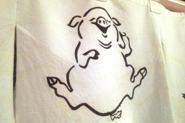 豚が描かれたのれん