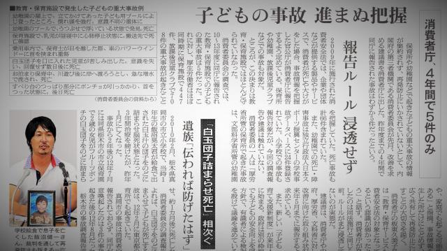 保育施設での事故を伝える新聞記事