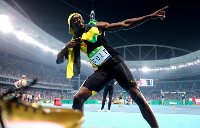 リオ五輪・陸上男子100メートルで3連覇を果たしたウサイン・ボルト=2016年8月14日、長島一浩撮影
