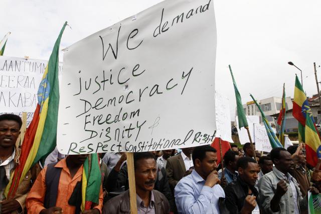 エチオピアでのデモ=2014年5月