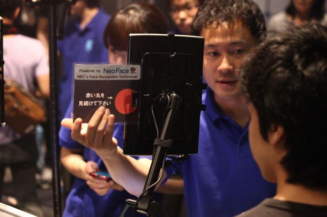 NECの顔認証技術を使った、テイパーズの入場システム=テイパーズ提供