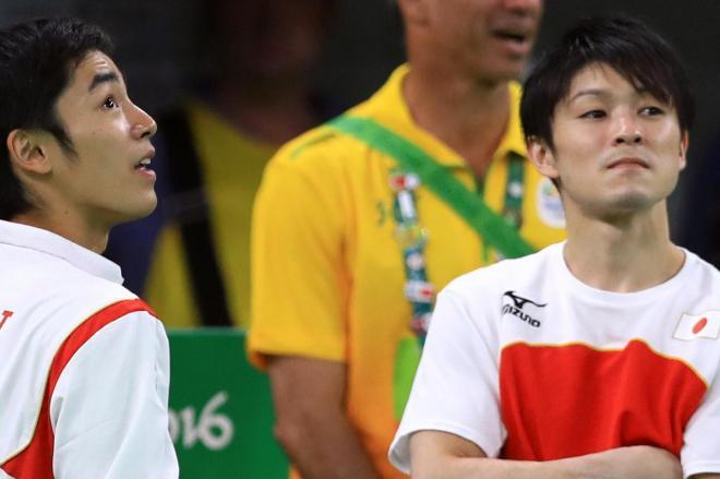 体操の技に名前がある白井健三(左)と、自分の名前の技がない内村航平