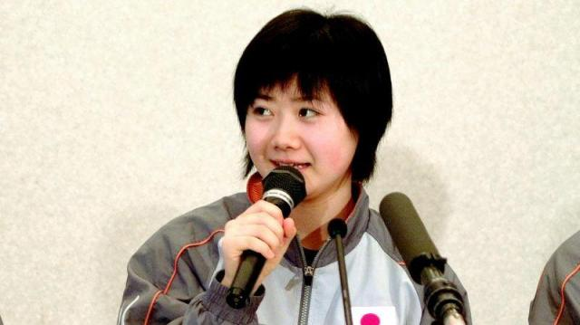 卓球のアジア杯で抱負を語る福原愛選手=2006年3月3日