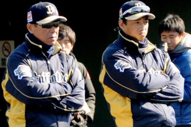 キャンプで練習を見つめる田口2軍監督(右)。隣は福良監督
