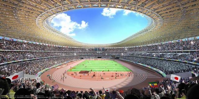 木に包まれる体験を目指す新国立競技場の内観の完成予想パース=大成建設・梓設計・隈研吾建築都市設計事務所JV作成/JSC提供