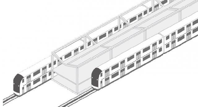 阿部等氏が提案する2階建て電車のホームのイメージ=ライトレール社提供