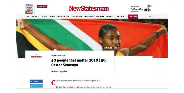 週刊誌「ニューステーツマン」のサイトに掲載されたセメンヤ選手の記事