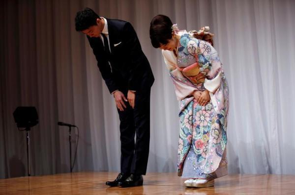 【2016年9月21日】日本で結婚を発表した福原愛選手と江宏傑選手=ロイター
