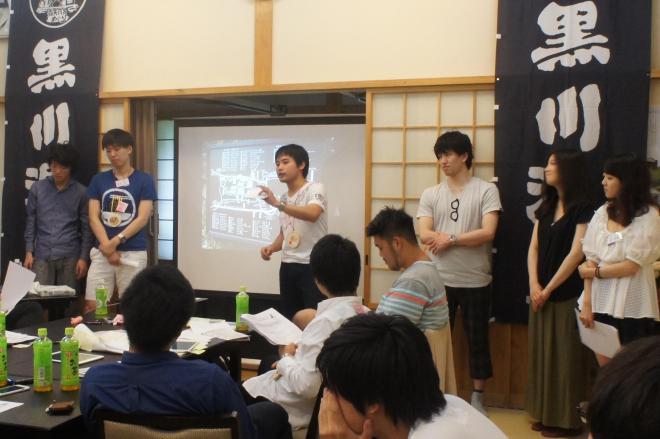 温泉地のPR策について発表する学生
