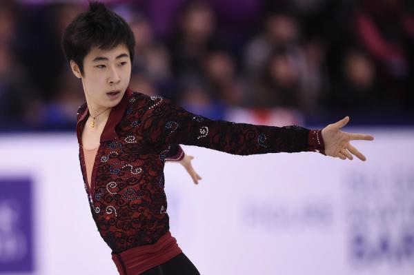 世界選手権で3位になった金博洋=2016年4月1日、遠藤啓生撮影
