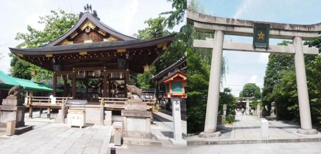 護王神社(左)と晴明神社。境内にはたくさんの絵馬が納められていた=京都市上京区