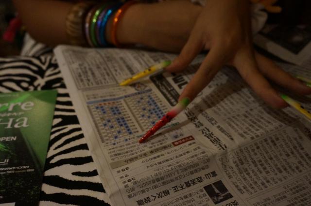 ぇりもっこりの爪。箸でポテチつまむように、新聞読んでいました
