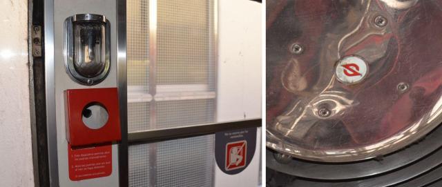 (左)車内の予備灯(右)送風機に残るSマーク