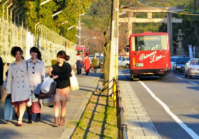 「女坂」と呼ばれている京都女子大の通学路