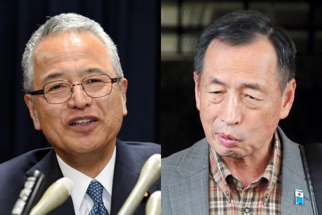 甘利明・元経済再生相(左)と田母神俊雄・元航空幕僚長