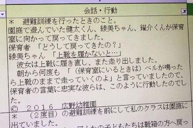 広野幼稚園が記録している園児の言動の例