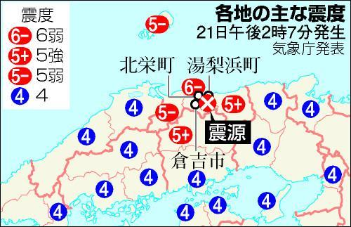 地震の被害が大きかったのは、鳥取県中部
