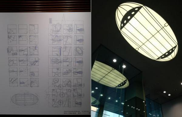 左が飛び去った宇宙船の図面。右が1階エントランスにデザインされた天井照明