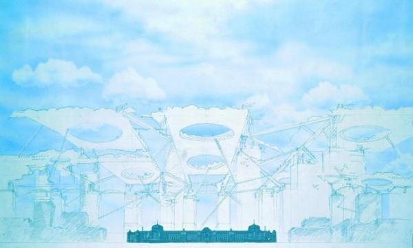 「空中都市」原広司、1989年。手前は東京駅の駅舎(朝日新聞に掲載)= 原広司+アトリエ・ファイ建築研究所提供