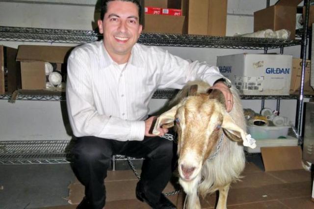 呪いをかけた先祖を持つトム・シアニスさん(左)とヤギ