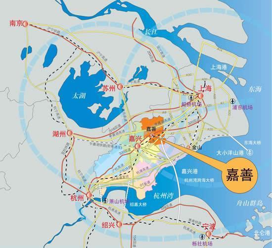 嘉善県の地図
