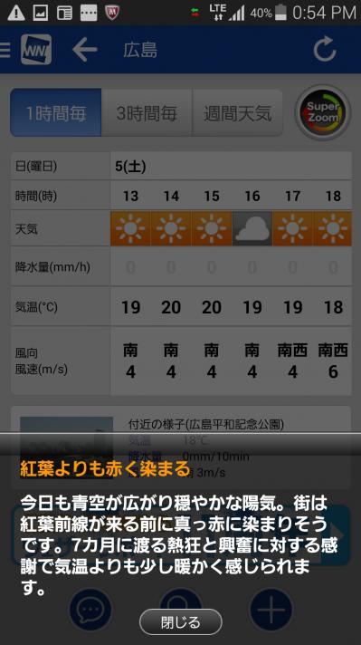 weathernewsのスマホアプリの画面