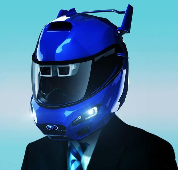 自動ブレーキなどの運転支援システムをビジネスマンの日常に適応させたヘルメット「アイサイト(ver.ビジネス)」。エイプリルフールのパロディー企画です